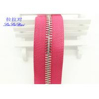 High Polished Gold Long Chain Zipper Pink Polyester Tape For Garments / Bags