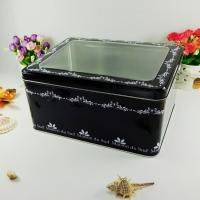 Wholesale Black Metal Tin Container With Silver Bottom Tranparent Window from china suppliers