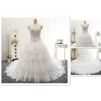 Wholesale Custom Luxury Ivory Rhinestone Beaded Appliques Sweetheart Ball Gown Tiered Chapel Train Crystal Wedding Dress from china suppliers