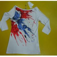 Wholesale Womens 3 4 Sleeve Crew Neck T Shirts , Ribbed Lovely Womens Summer Tops from china suppliers