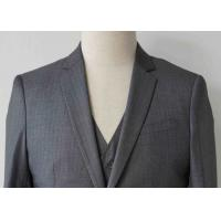 Wholesale Stripe Mens Light Gray 3 Piece Suit Worsted Wool Flat Pocket Japanese Style from china suppliers