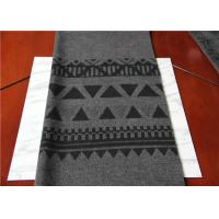 Quality Located 50% Wool Jacquard Scarf Fabric Gray And Black 150 Cm Width ISO9001 for sale