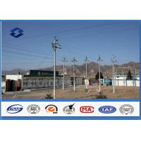 Quality Power Distribution Equipment lattice steel pole , Conical Polygonal Galvanized electric utility pole for sale