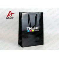 Wholesale CMYK Logo Black Custom Paper Shopping Bags With Handle Glossy Lamination from china suppliers