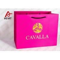Coated Paper Reusable Christmas Shopping Bags , Cotton Rope Paper Carrier Bags