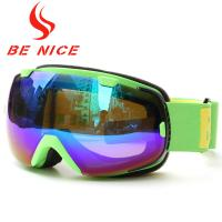 Green Mirrored Ski Goggles With Removable Lenses , Polyethylene Foam 15mm Thickness