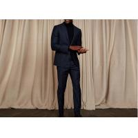 Wholesale Tailored Blue Pinstripe 3 Piece Suit Woven Jacquard Fabric Fit Spring / Autumn from china suppliers