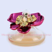 China 30ml Cone Glass (bottom colored) Perfume Bottle Packaging with UV Plastic Cap and FEA 15mm gold Perfume Pump/collar wholesale