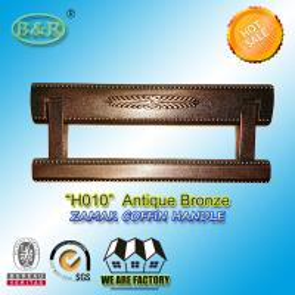 Quality 20*8.4 cm size Zinc alloy metal coffin handles zamak coffin hardware H010 old bronze brass color for sale