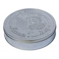 China Round Race Tuning Metal Tin Box Silver Plain With Embossed Lid wholesale
