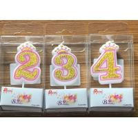 Wholesale White Candle  Gold painting and Pink line with Cute Crown Number Birthday Candles 0-9 from china suppliers