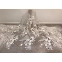 """Wholesale Off White Mesh 3D Flower Embroidery Beaded Lace Fabric 50"""" Wide 1 Yard from china suppliers"""