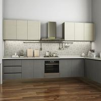 China L Shaped Melamine Kitchen Cabinets With Stainless Steel Appliances European Style wholesale