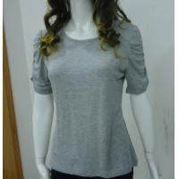 Quality Self Tape Grey Womens Casual Tops T Shirts , Fashion Smock T Shirt Tops for sale