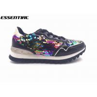 Black lace up luxury ladies casual shoes multi color sequins and shiny PU