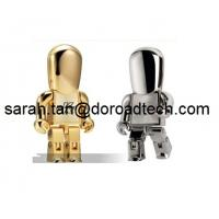China Free Sample Low Price Wholesale Real Capacity Metal Golden Robot USB Flash Drives wholesale