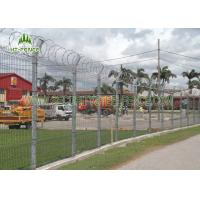 Square Post PVC Coated Welded Wire Fencing V Bend Rigid Fence For Airport