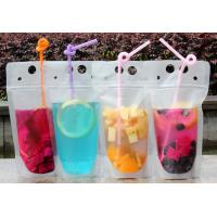 China Lemonade / Cold Drinking Resealable Zip Lock Clear Stand Up Pouch With Straw wholesale