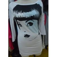 Wholesale Ladies Three Quarter Length Sleeve T Shirts , White Stylish Long Tops Custom Size from china suppliers