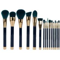 China 15 Pieces Popular Makeup Brushes Made Of Three Color Nylon Hair And Gold Aluminum wholesale