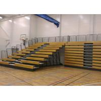 Wooden Retractable Indoor Bleachers Polymer Bench With Guardrail System