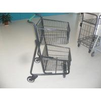 Two deck Basket Grocery shopping trolley / cart with american handle printed logo