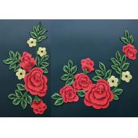 Wholesale Colorful Polyester Neckline Embroidered Applique Patches With Large Red 3D Flower from china suppliers