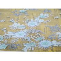 Wholesale Embroidery 3D Floral Wedding Dress Lace Fabric By The Yard With Beads Light Blue from china suppliers