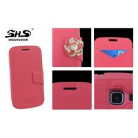 Quality PU Leather Cell Phone Cases with Camellia Jewelry Stand Design Wallet Cover for Samsung i8552 for sale