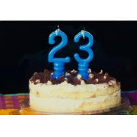 Wholesale Pure Blue Color Mini Number Birthday Candles With Spiral Candle Holder from china suppliers