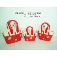 Wholesale Decorative Ceramic Flower Pots Bag Shaped Xmas With Handle 20.3 X 10.5 X 20.8 Cm from china suppliers