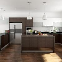 Interior Assembled Wood Veneer Kitchen Cabinets Particle Board Carcass