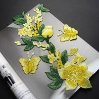 Wholesale Yellow Flower Sew On Embroidered Patches Lace Appliques For Clothing 14 X 32 CM from china suppliers