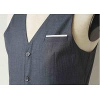 Wholesale Big Stripe Mens Three Piece Suit , Grey Wool Three Piece Suit Anti - Wrinkle from china suppliers