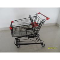 125L Supermarket Push Cart With Flat / Travelator Casters , 941x560x1001mm