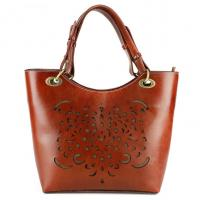 Quality Brown Ladies Fashion Handbag Cowhide with Hollow Out Texture for sale