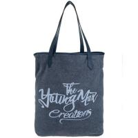 Black Custom Canvas Bags With Letter Printing / Silk - screen Logo