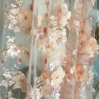 Wholesale Luxury 3D Floral Beaded Bridal Lace Fabric , Scalloped Edge Wedding Gown Lace Fabric from china suppliers