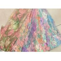Wholesale 3D Beaded Lace Fabric , Scalloped Multi Color Floral Embroidered Fabric For Skirt from china suppliers