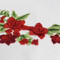 Wholesale 34*18 CM Red Flower Embroidered Applique Patches For DIY Dress Decorative from china suppliers