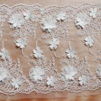 Wholesale Beautiful White 3D Flower Lace Fabric , Double Edge Alencon Beaded Lace Fabric from china suppliers