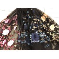 Wholesale Flower Embroidered Sequin Lace Fabric , Multi Colored 3D Flower Mesh Lace Fabrics from china suppliers