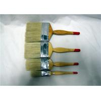 China White Bristle Flat Paint Brush With Fesiform Wooden Handle , Paint Brushes For Walls wholesale