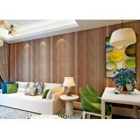 China Brown Color Stripes Embossment Water Proof Wallcovering / Home Decoration Wallpaper wholesale