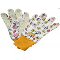 Drill PVC Polar Dots Printed Cotton & Polyester Women Gardening Working Gloves 9.5'