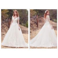 Wholesale Long Sleeve White Organza Ball Gown BVridal Dress Lace Wedding Dress from china suppliers