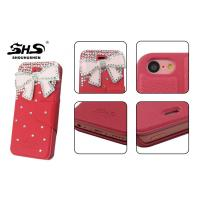 China Card Slot Design iPhone 5C Leather Cell Phone Cases with Bowknot Jewelry wholesale