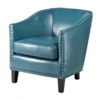 Faux Leather Oversized Living Room Chair With Single Row Nail Head Trim