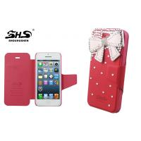 China iPhone 5 / 5S PU Leather Cell Phone Cases Durable Wallet Cover with Bowknot Jewelry wholesale