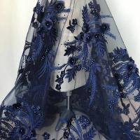 Wholesale Navy Blue 3D Flower Lace Fabric with Pearl Beaded Applique for Ladies Dress from china suppliers